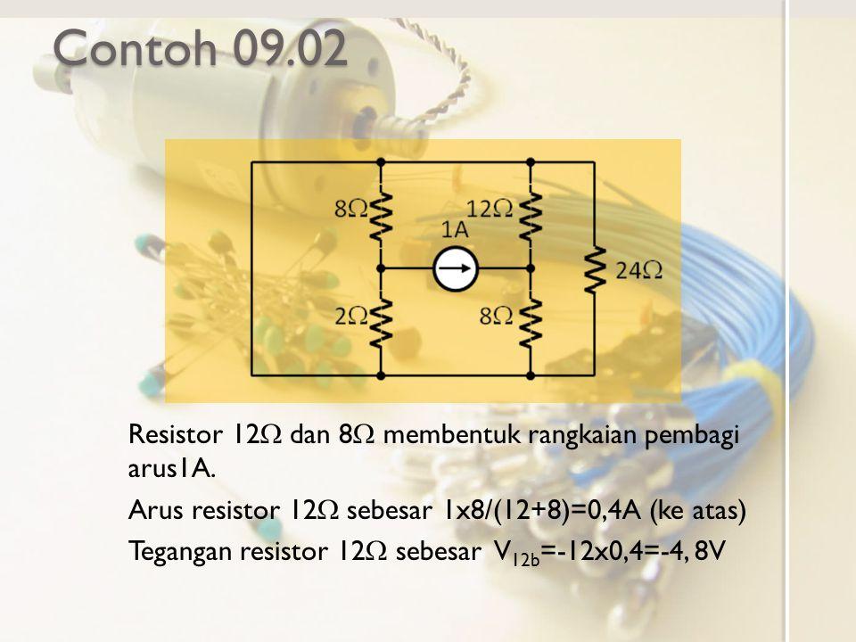 Contoh 09.02 Resistor 12W dan 8W membentuk rangkaian pembagi arus1A.