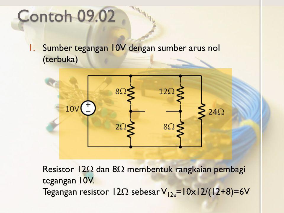 Contoh 09.02 Sumber tegangan 10V dengan sumber arus nol (terbuka)