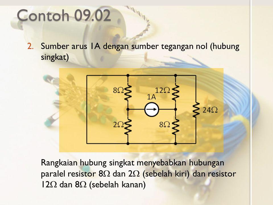 Contoh 09.02 Sumber arus 1A dengan sumber tegangan nol (hubung singkat)