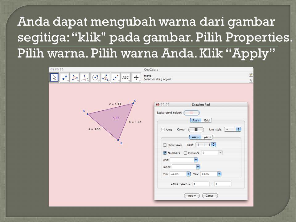 Anda dapat mengubah warna dari gambar segitiga: klik pada gambar