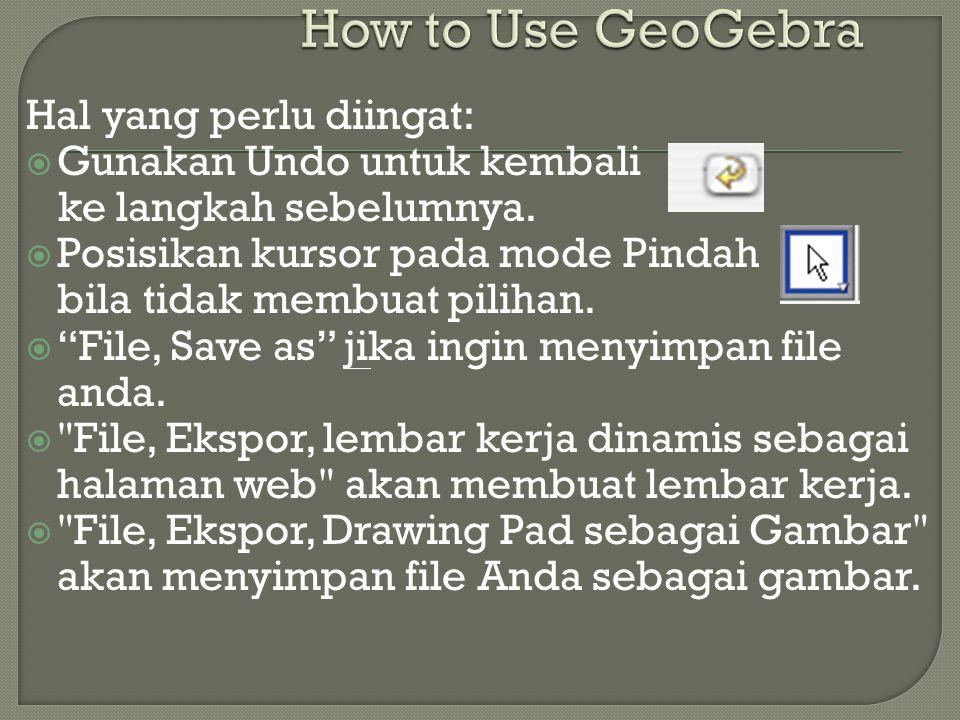 How to Use GeoGebra Hal yang perlu diingat: Gunakan Undo untuk kembali