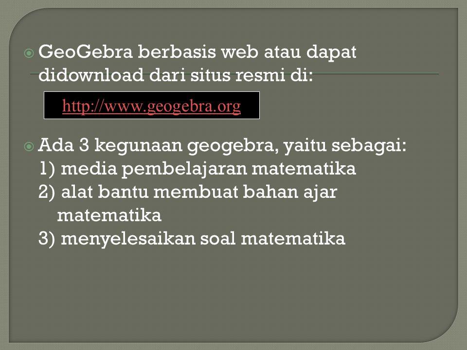 GeoGebra berbasis web atau dapat didownload dari situs resmi di: