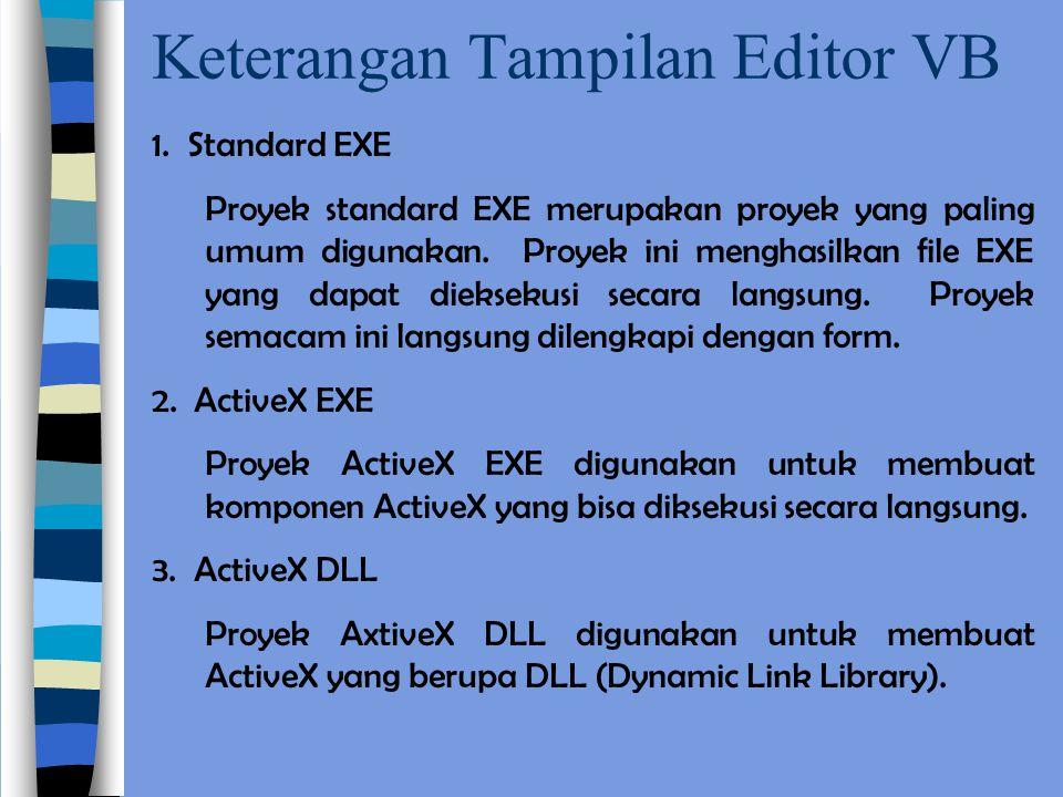 Keterangan Tampilan Editor VB