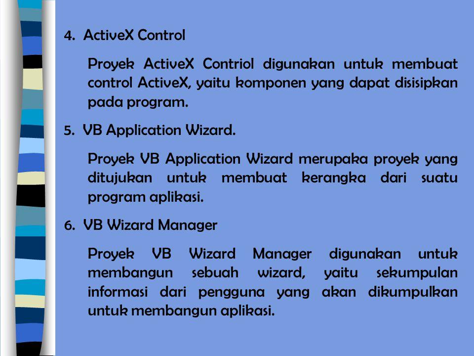4. ActiveX Control Proyek ActiveX Contriol digunakan untuk membuat control ActiveX, yaitu komponen yang dapat disisipkan pada program.