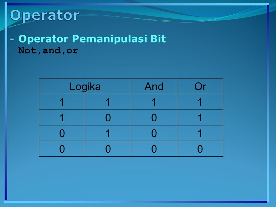 Operator Operator Pemanipulasi Bit Not,and,or Logika And Or 1