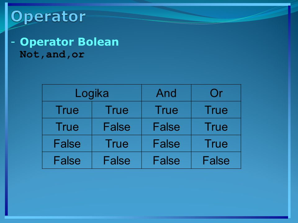 Operator Operator Bolean Not,and,or Logika And Or True False