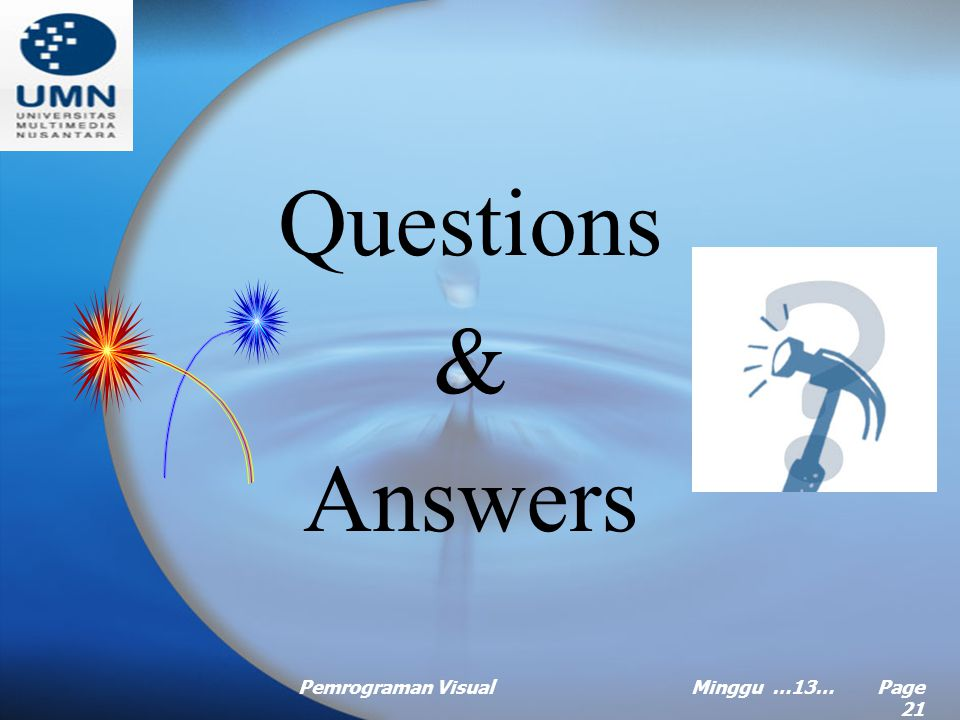 Questions & Answers Pemrograman Visual