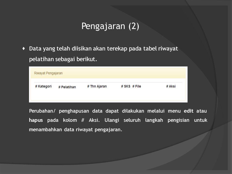 Pengajaran (2) Data yang telah diisikan akan terekap pada tabel riwayat pelatihan sebagai berikut.