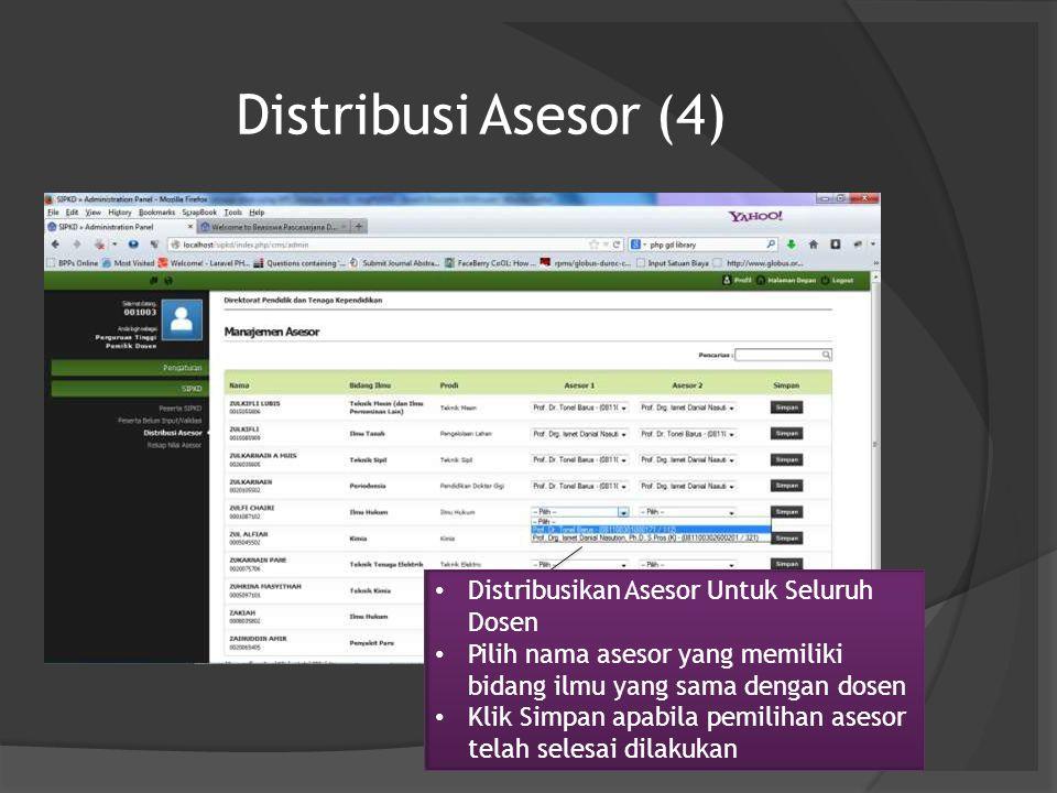 Distribusi Asesor (4) Distribusikan Asesor Untuk Seluruh Dosen