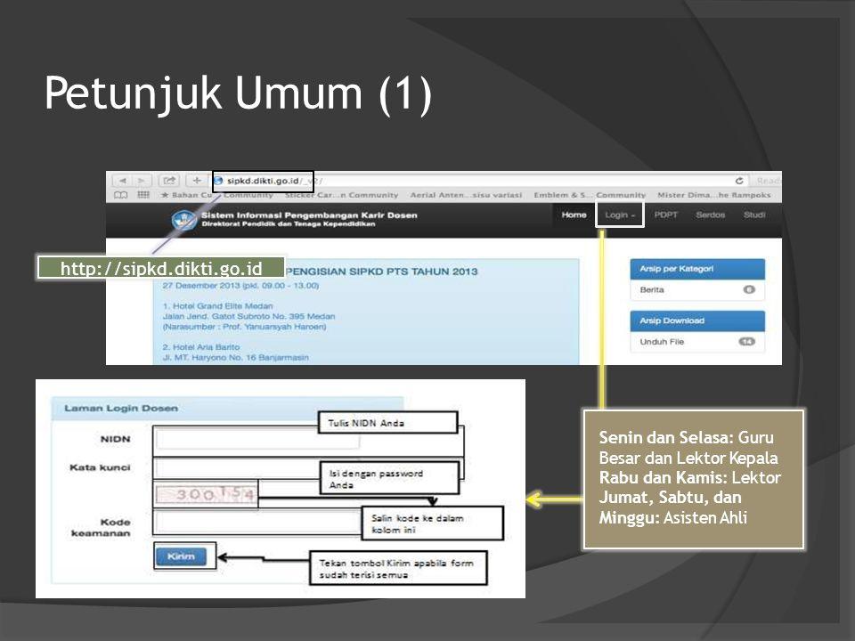 Petunjuk Umum (1) http://sipkd.dikti.go.id