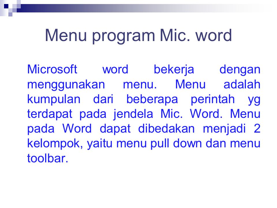 Menu program Mic. word