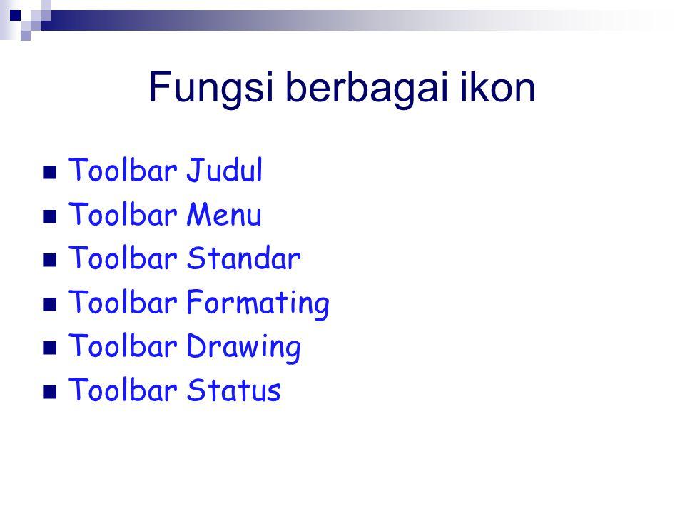 Fungsi berbagai ikon Toolbar Judul Toolbar Menu Toolbar Standar