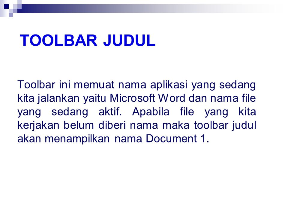 Toolbar judul