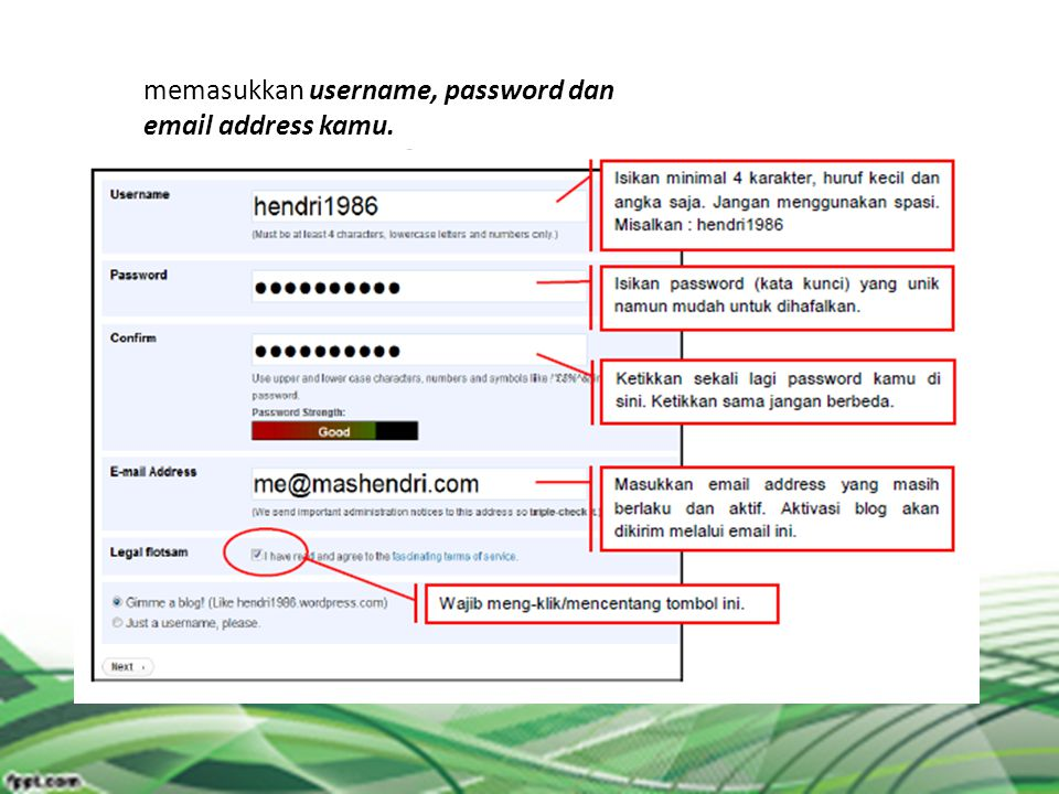 memasukkan username, password dan  address kamu.