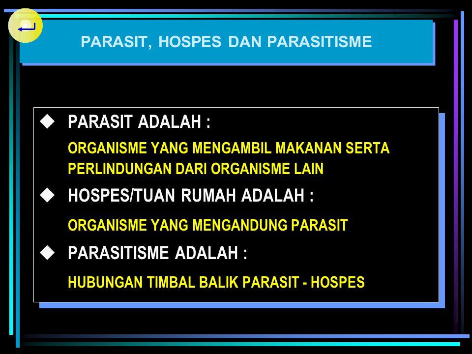 PARASIT, HOSPES DAN PARASITISME