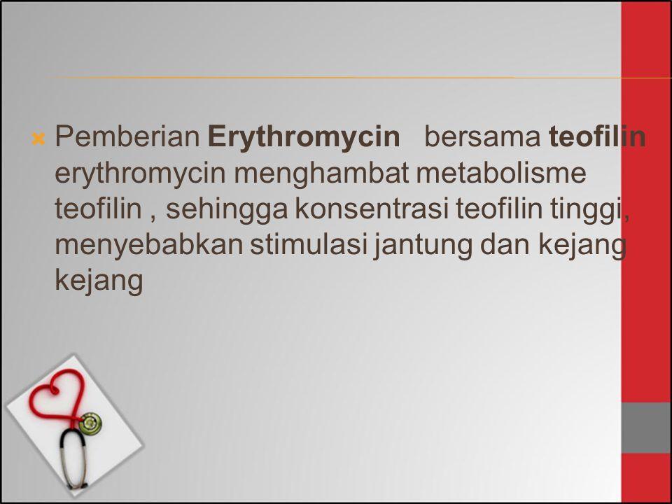 Pemberian Erythromycin bersama teofilin erythromycin menghambat metabolisme teofilin , sehingga konsentrasi teofilin tinggi, menyebabkan stimulasi jantung dan kejang kejang