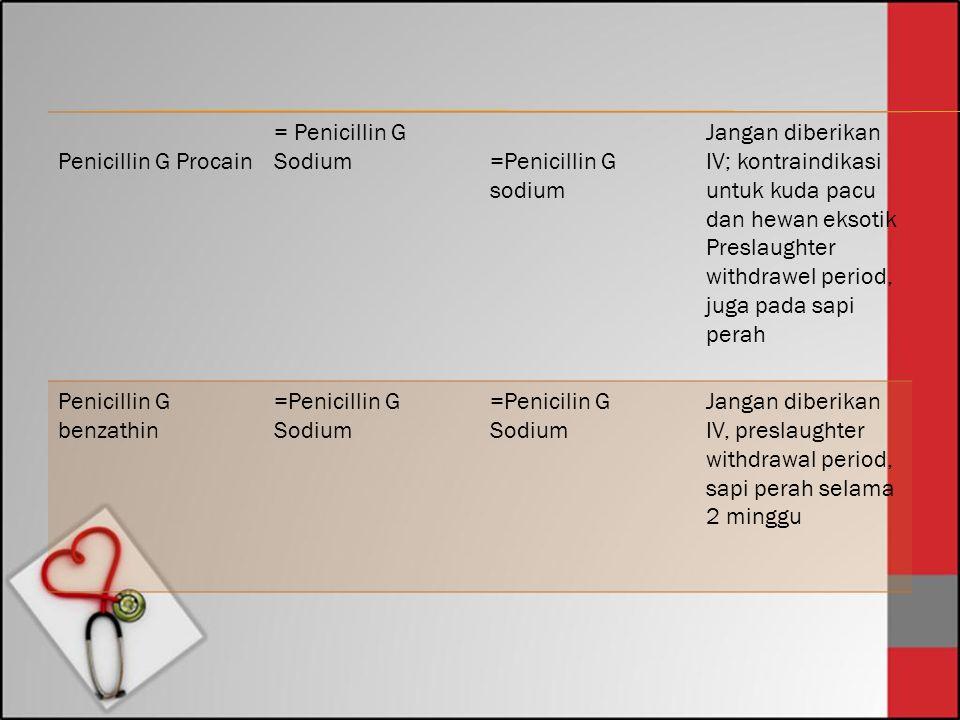 Penicillin G Procain. = Penicillin G Sodium. =Penicillin G sodium. Jangan diberikan IV; kontraindikasi untuk kuda pacu dan hewan eksotik.