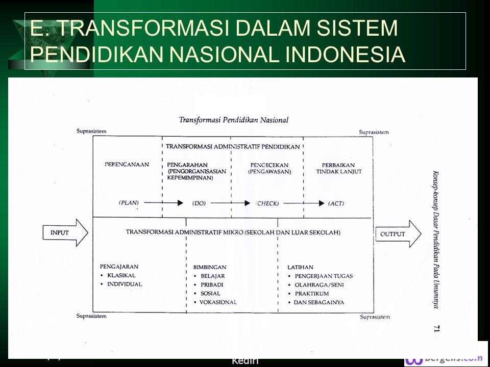 E. TRANSFORMASI DALAM SISTEM PENDIDIKAN NASIONAL INDONESIA