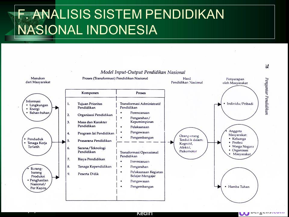 F. ANALISIS SISTEM PENDIDIKAN NASIONAL INDONESIA