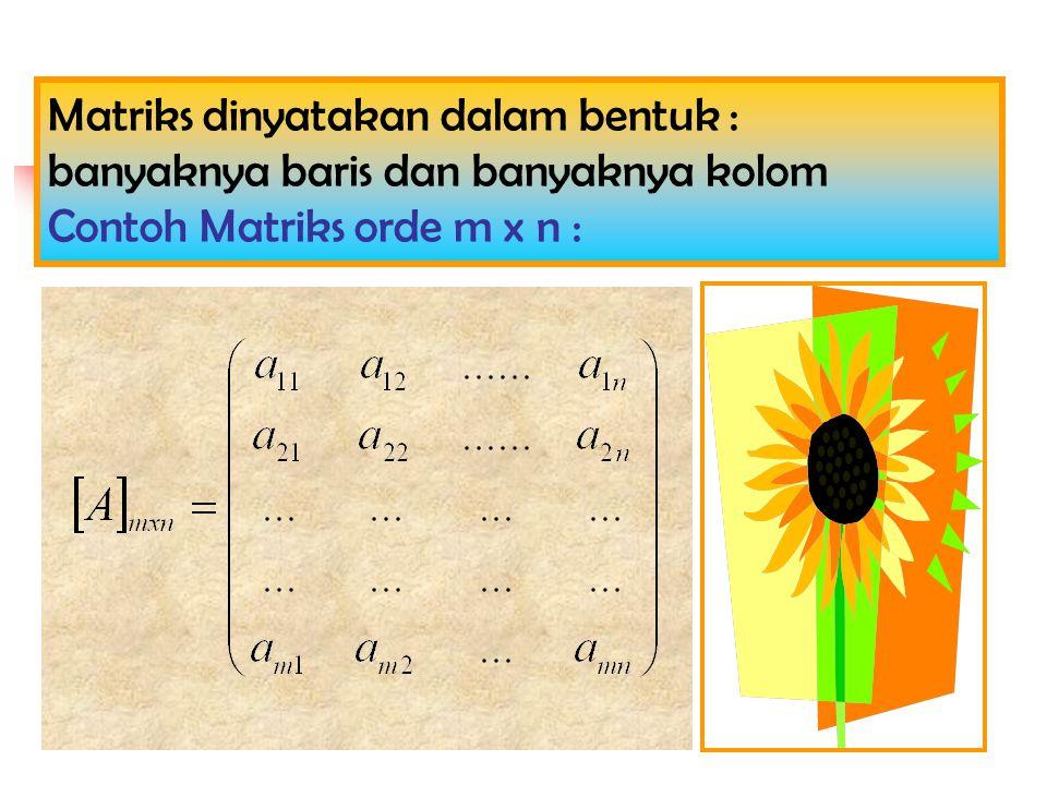 Matriks dinyatakan dalam bentuk :