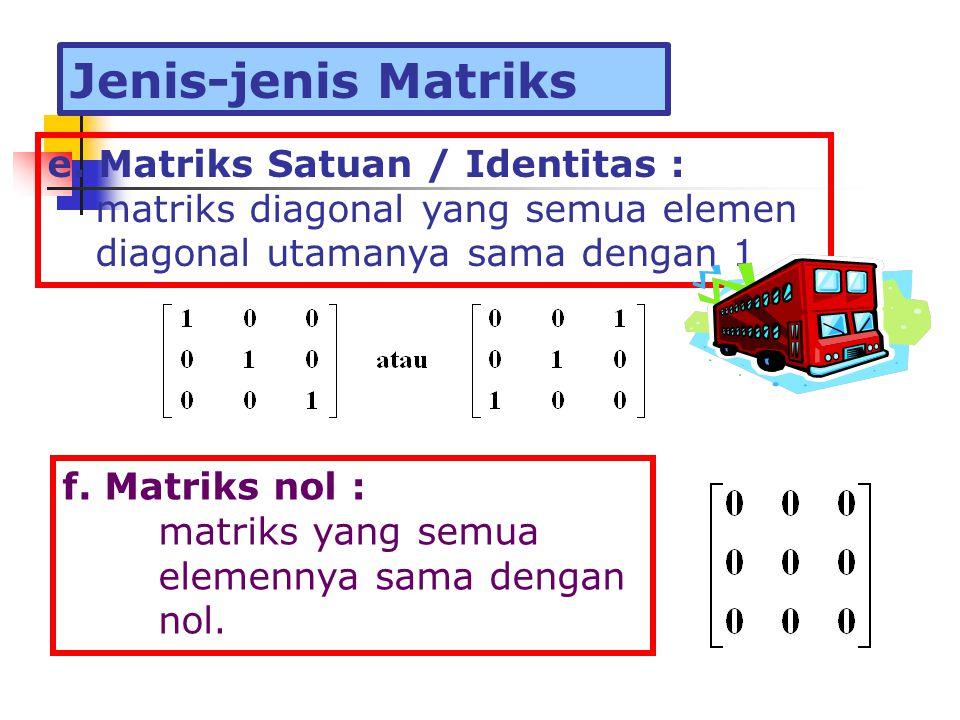 Jenis-jenis Matriks e. Matriks Satuan / Identitas :