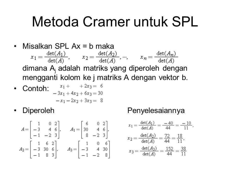 Metoda Cramer untuk SPL