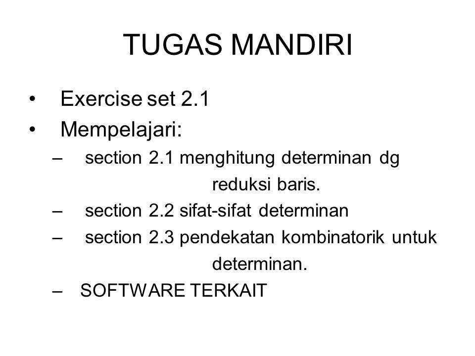 TUGAS MANDIRI Exercise set 2.1 Mempelajari: