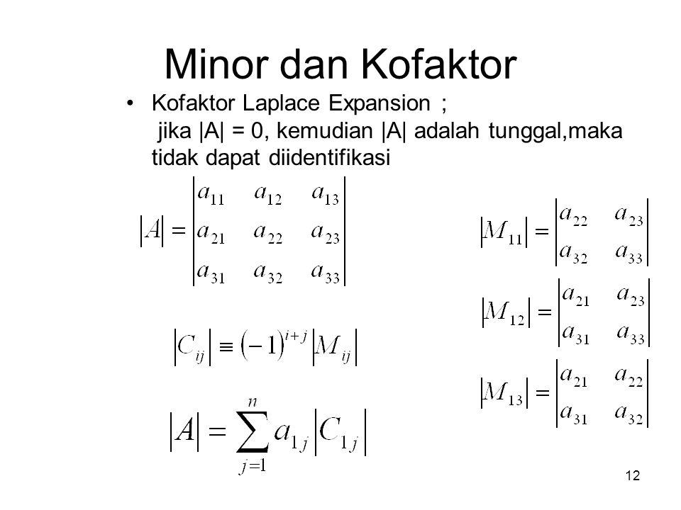 Minor dan Kofaktor Kofaktor Laplace Expansion ; jika |A| = 0, kemudian |A| adalah tunggal,maka tidak dapat diidentifikasi.