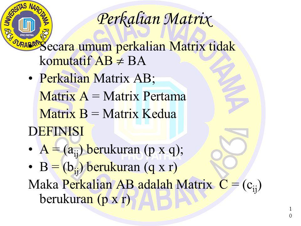 Perkalian Matrix Secara umum perkalian Matrix tidak komutatif AB  BA