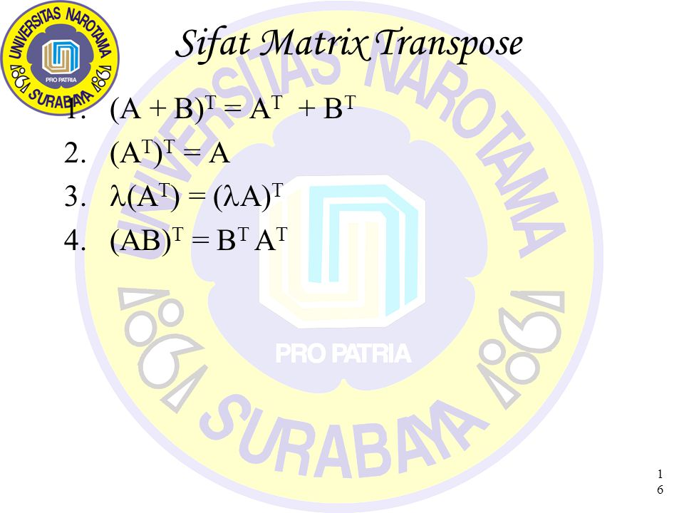 Sifat Matrix Transpose