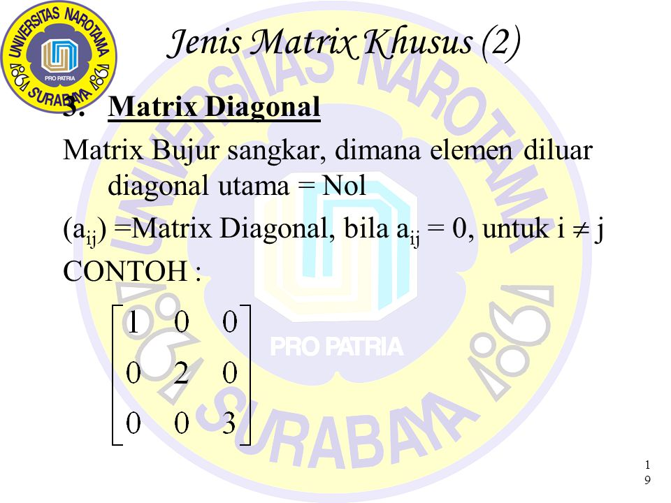 Jenis Matrix Khusus (2) Matrix Diagonal