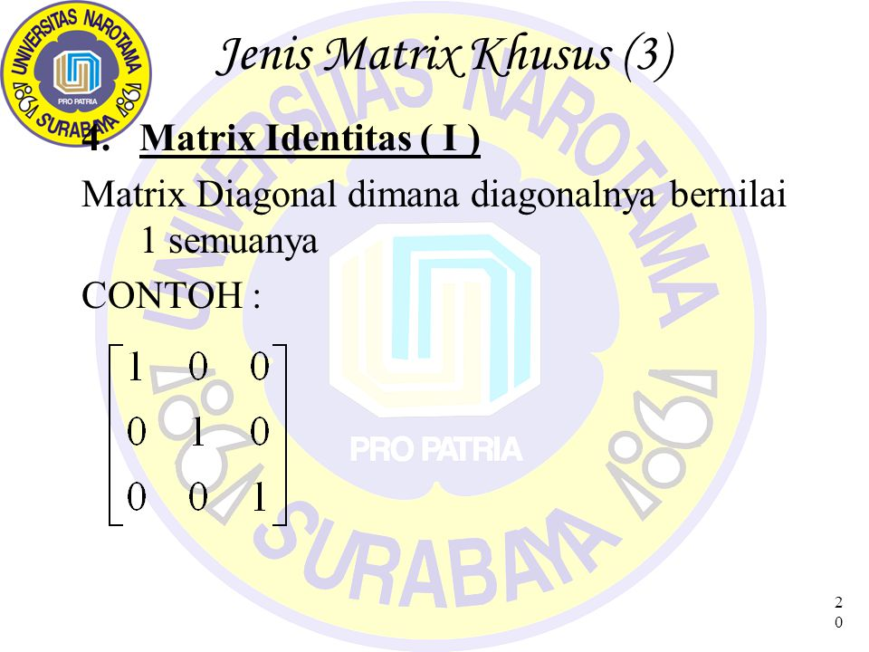 Jenis Matrix Khusus (3) Matrix Identitas ( I )