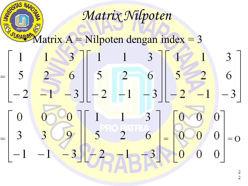 Matrix Nilpoten Matrix A = Nilpoten dengan index = 3 = = = = O