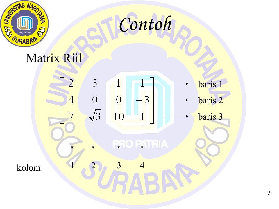 Contoh Matrix Riil baris 1 baris 3 baris 2 kolom 1 2 3 4