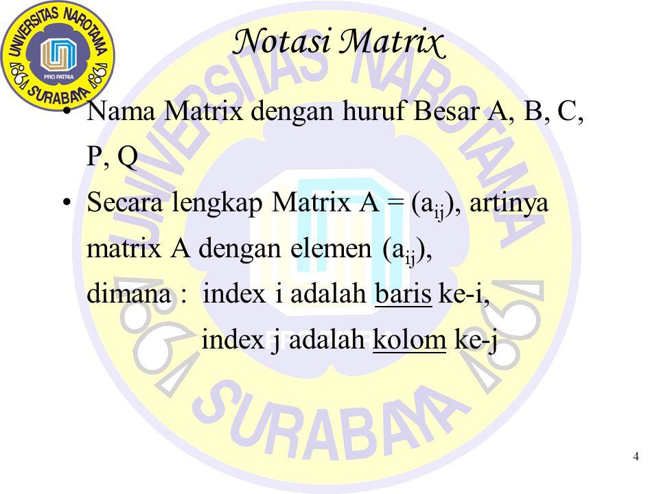 Notasi Matrix Nama Matrix dengan huruf Besar A, B, C, P, Q