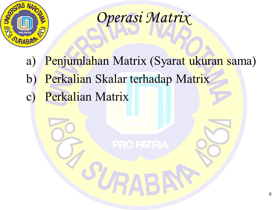 Operasi Matrix Penjumlahan Matrix (Syarat ukuran sama)