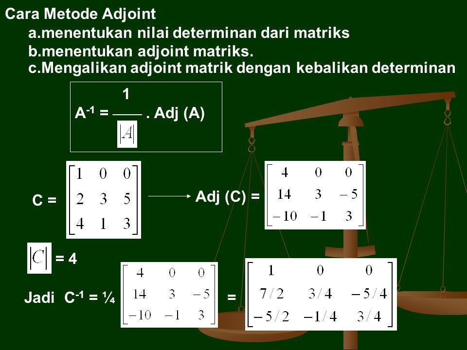 Cara Metode Adjoint menentukan nilai determinan dari matriks. menentukan adjoint matriks. Mengalikan adjoint matrik dengan kebalikan determinan.