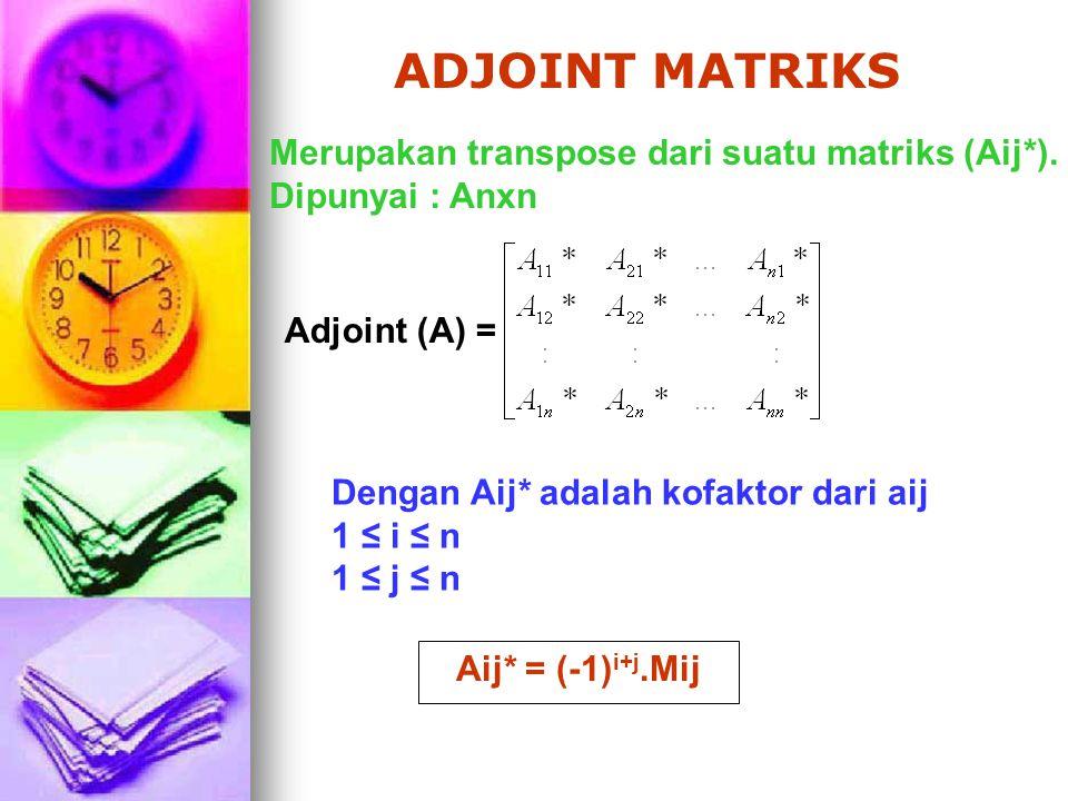 ADJOINT MATRIKS Merupakan transpose dari suatu matriks (Aij*).