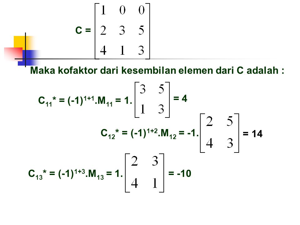 Maka kofaktor dari kesembilan elemen dari C adalah :