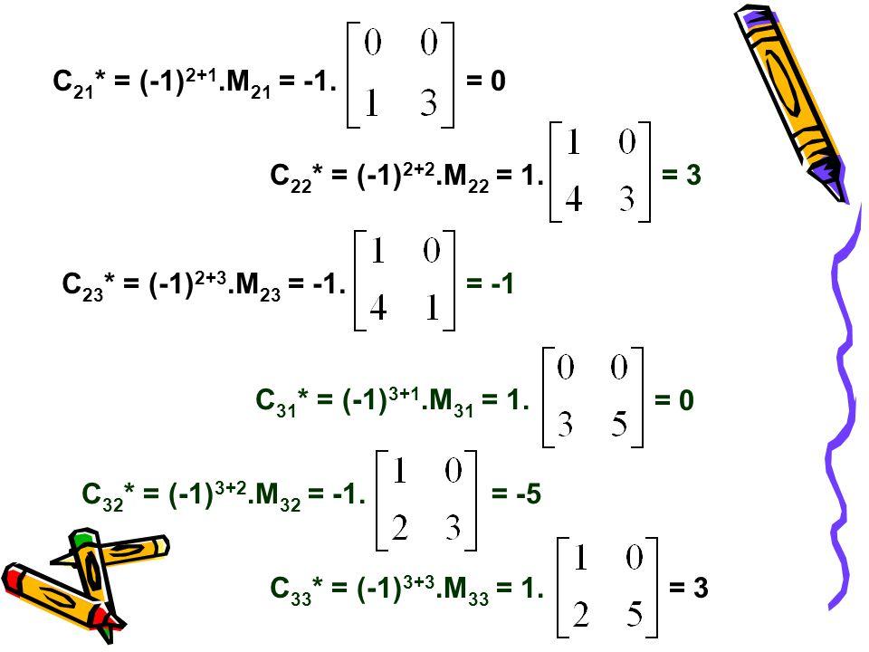 C21* = (-1)2+1.M21 = -1. = 0. C22* = (-1)2+2.M22 = 1. = 3. C23* = (-1)2+3.M23 = -1. = -1. C31* = (-1)3+1.M31 = 1.