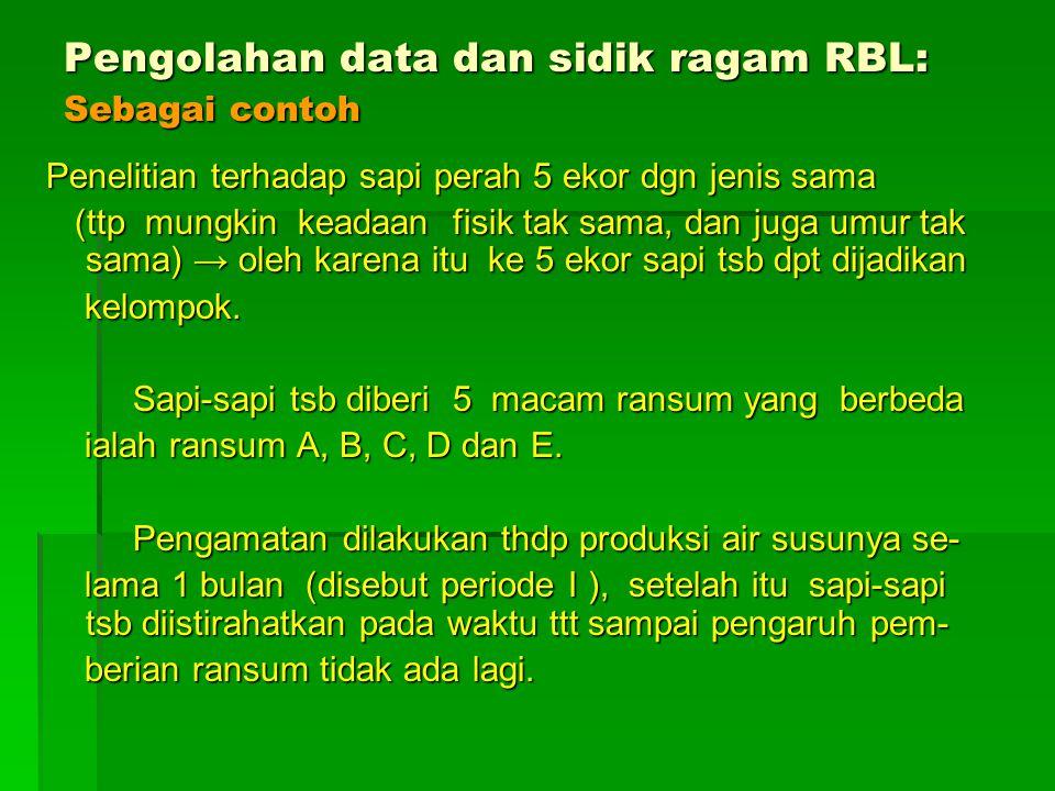 Pengolahan data dan sidik ragam RBL: Sebagai contoh