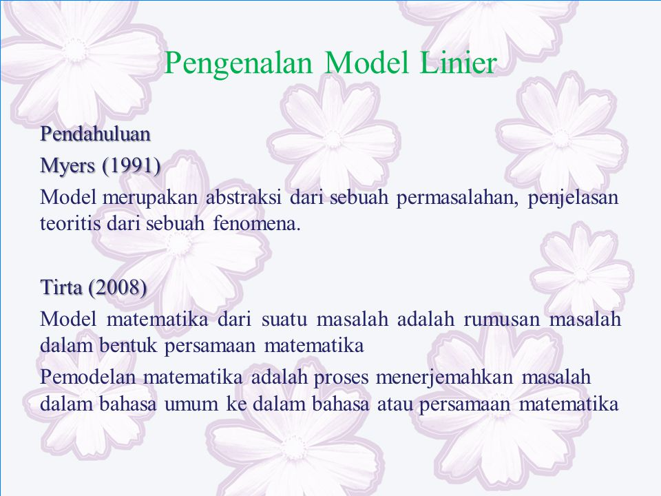 Pengenalan Model Linier