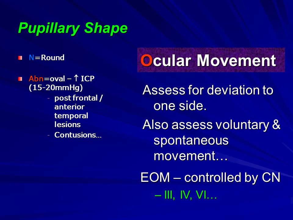 Ocular Movement Pupillary Shape Assess for deviation to one side.