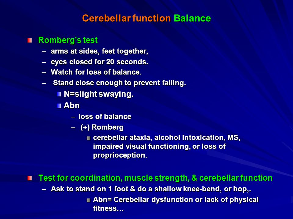 Cerebellar function Balance
