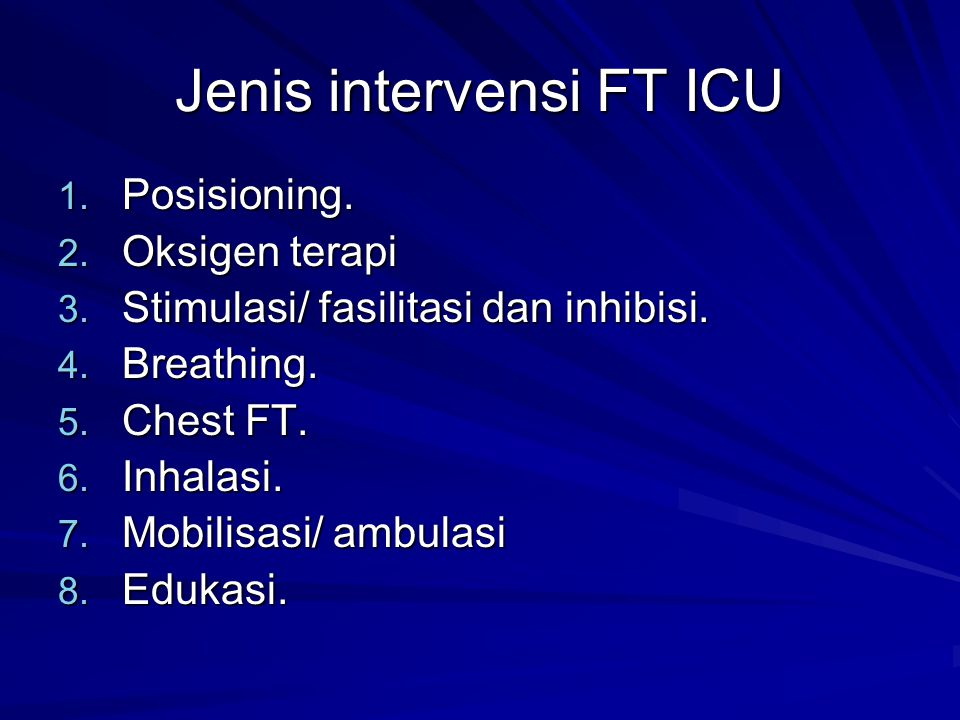 Jenis intervensi FT ICU