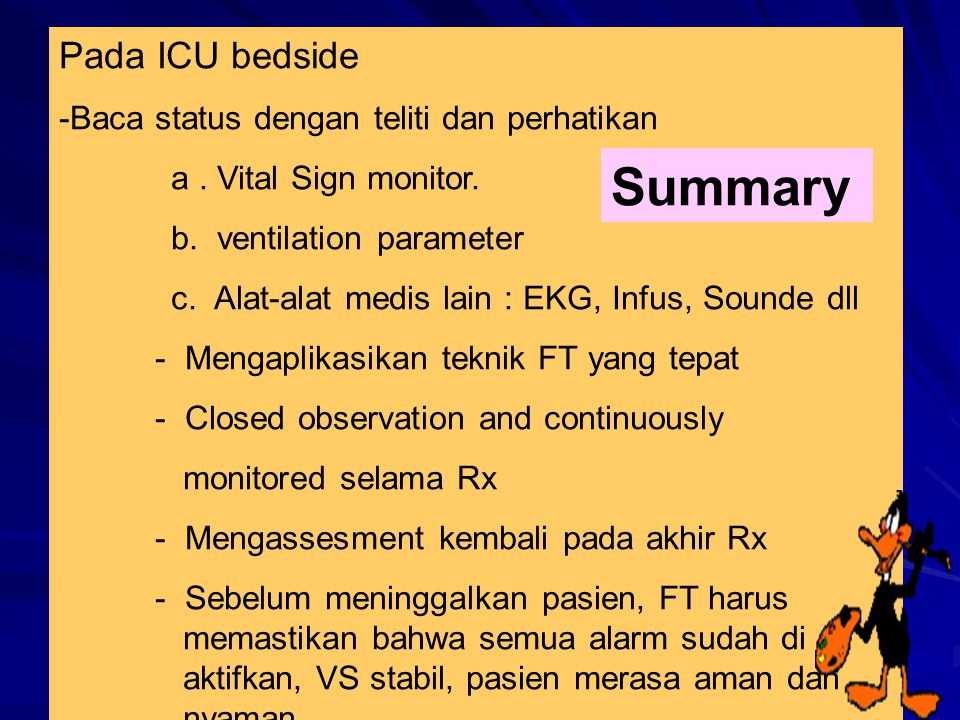 Summary Pada ICU bedside -Baca status dengan teliti dan perhatikan