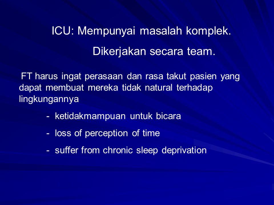 ICU: Mempunyai masalah komplek. Dikerjakan secara team.