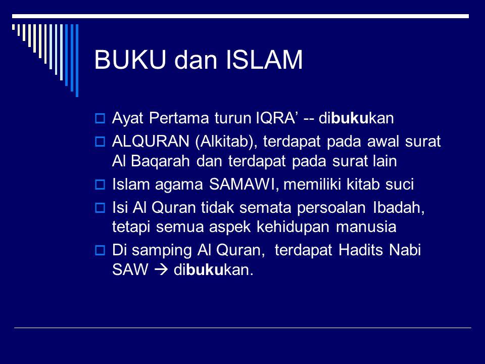 BUKU dan ISLAM Ayat Pertama turun IQRA' -- dibukukan