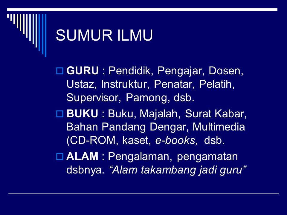 SUMUR ILMU GURU : Pendidik, Pengajar, Dosen, Ustaz, Instruktur, Penatar, Pelatih, Supervisor, Pamong, dsb.