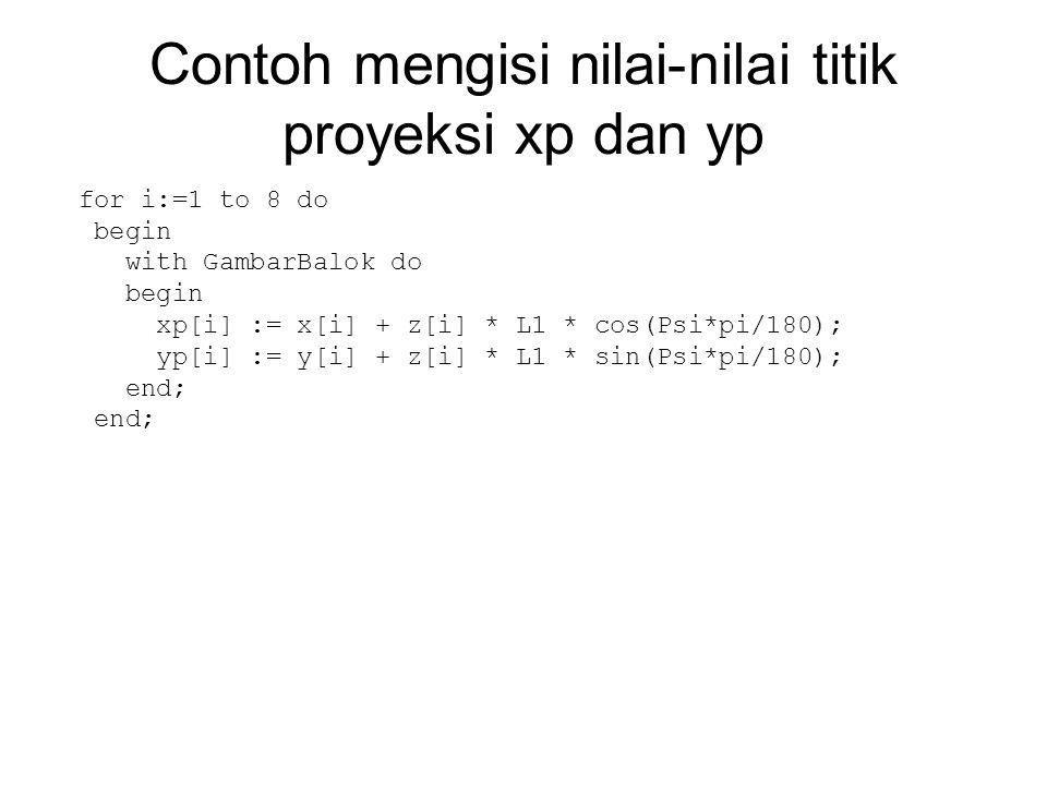 Contoh mengisi nilai-nilai titik proyeksi xp dan yp